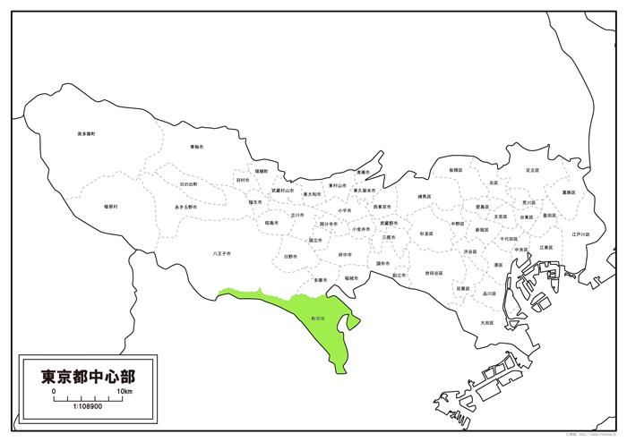 東京都の町田市がわかる地図。