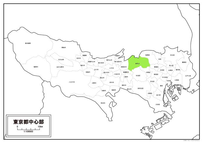 東京の練馬区の位置の地図