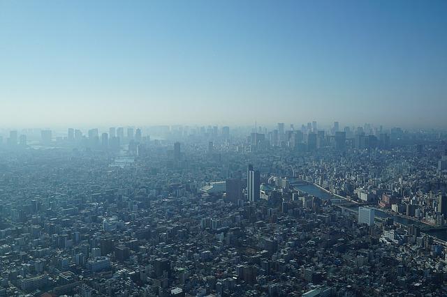 東京を上空から撮影